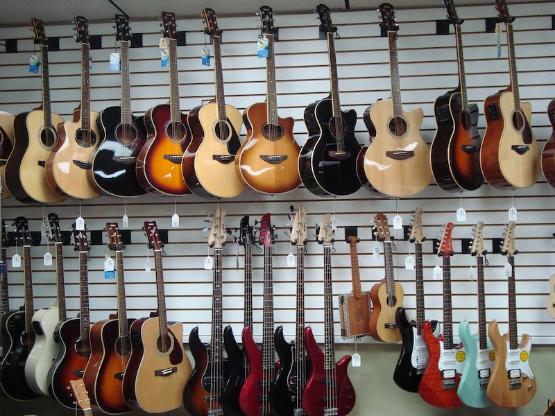 Music instruments and guitars at little river pawn shop