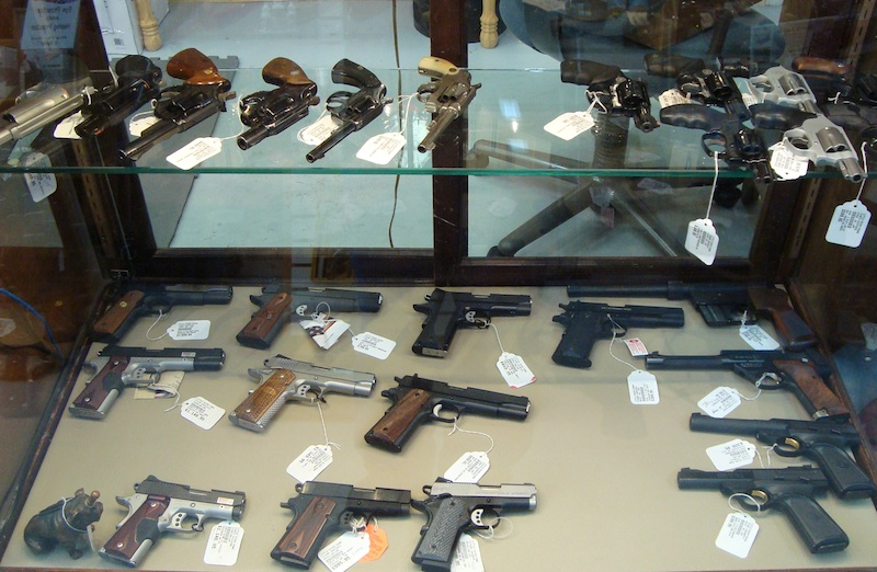 lots of pistols at little river pawn shop